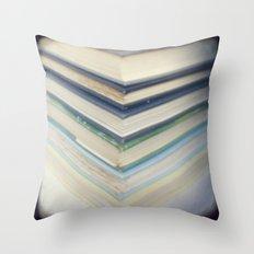 Blue chevron books Throw Pillow