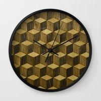 Optical wood cubes Wall Clock