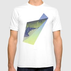 Triangle Mountains Mens Fitted Tee White SMALL
