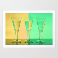Refracted Wine Glasses Art Print