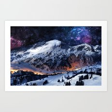 Mountain CALM IN space view Art Print