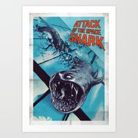 Attack Of The Space Shar… Art Print