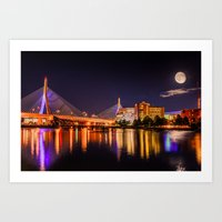 Moon Light Over Zakim Br… Art Print