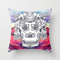 Sugar Skull Splash Throw Pillow