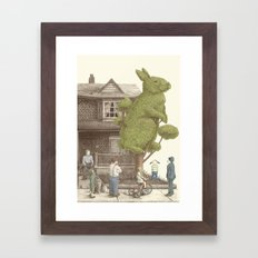 The Night Gardener - Rabbit Topiary Framed Art Print