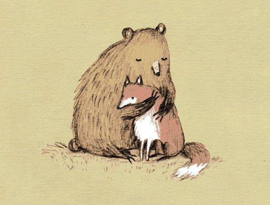 Grizzly Hugs Art Print