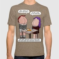 CUT THE CHEEZE! Mens Fitted Tee Tri-Coffee SMALL