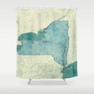 New York Map Blue Vintag… Shower Curtain