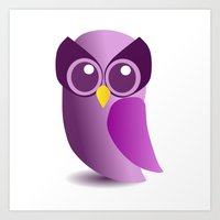 Cute Purple Owl Art Print