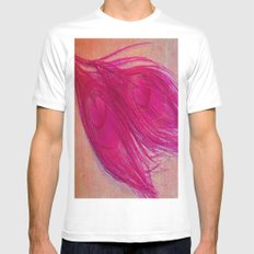 Vintage Pink SMALL White Mens Fitted Tee