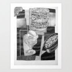 Food Collage (Drawing) Art Print