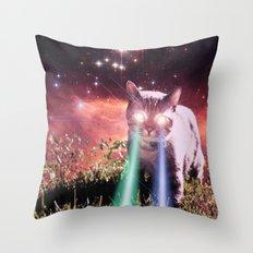 Mega Space Cat Rising Throw Pillow