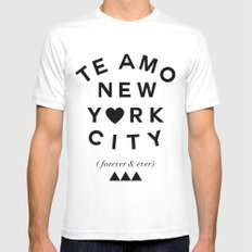 (EXTRA BOLD) TE AMO NEW YORK CITY (forever & ever) SMALL Mens Fitted Tee White