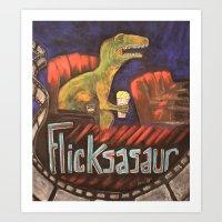 Flicksasaur Art Print