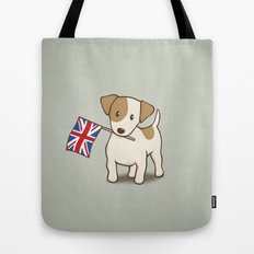Jack Russell Terrier and Union Jack Illustration Tote Bag