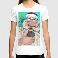 #santa#selfie Womens Fitted Tee White SMALL