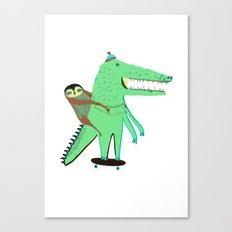 Crocodile and Sloth. Canvas Print
