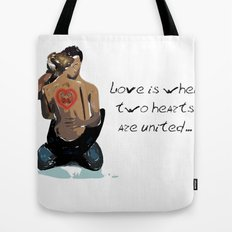 Love is when two hearts are united... Tote Bag