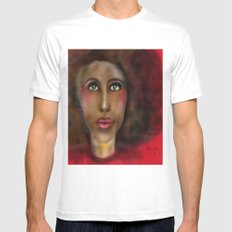 Afro Lady White SMALL Mens Fitted Tee