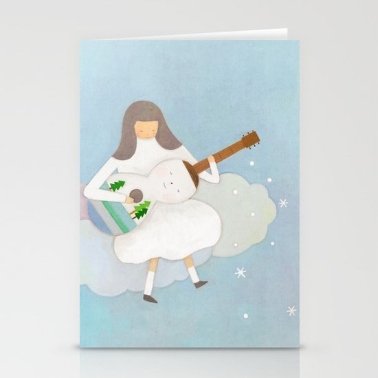 Winter play Stationery Card