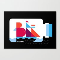 Postcards from Amsterdam / Bottle Ship Canvas Print
