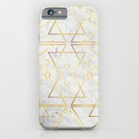 iPhone Cases featuring wire gOld triangle by Simona Sacchi