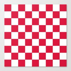 Checker (Crimson/White) Canvas Print