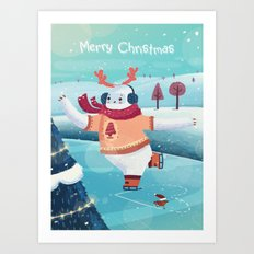 Merry Christmas with Yeti Art Print