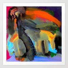 Stoned Dog Walker At Sunset Art Print