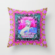 Pink & Gold Unicorn Fant… Throw Pillow