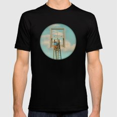 Window cleaner in the sky 02 SMALL Mens Fitted Tee Black