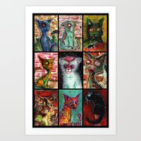 9 Zombie Cats version 2 Art Print