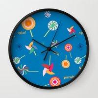 Spin! Pinwheel Spin! Wall Clock