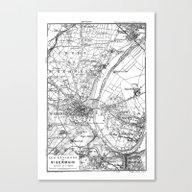Canvas Print featuring Vintage Paris Map by LebensART