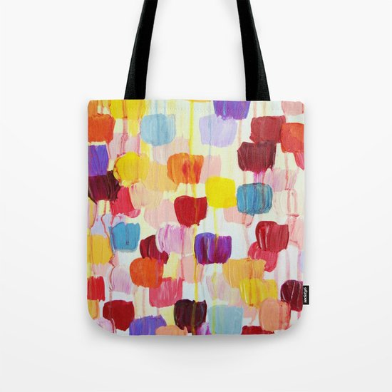 DOTTY - Stunning Bright Bold Rainbow Colorful Square Polka Dots Lovely Original Abstract Painting Tote Bag
