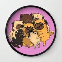 Pugs Group Hug Wall Clock