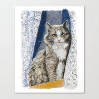 Grey Cat  Sitting In Win… Canvas Print