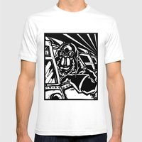 Monkey Pilot Black & Whi… Mens Fitted Tee White SMALL