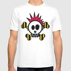 :::::::::PUNK SKULL:::::::::: White Mens Fitted Tee SMALL