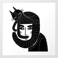 CAT BEARD Art Print