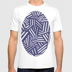 Blue and white Mens Fitted Tee White SMALL