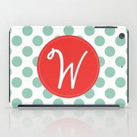 Monogram Initial W Polka Dot iPad Case