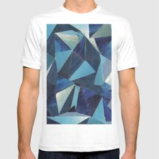 Blue White Mens Fitted Tee SMALL