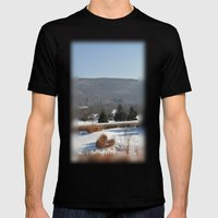 Winter Snow Scene Landscape Photo Mens Fitted Tee Black SMALL