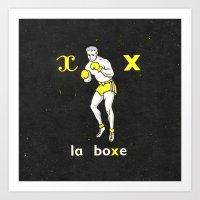 Black Yellow Vintage Boxing French Illustration Art Print
