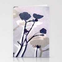abstract florals  ~ color option deep blue Stationery Cards