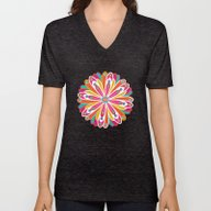 Unisex V-Neck featuring Festive Flowers by Shelly Bremmer