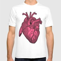 hot pink heart Mens Fitted Tee White SMALL