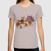 Critters: Fall Camping Womens Fitted Tee Cinder SMALL
