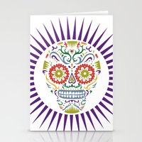 Sugar Skull SF multi 2 - on white Stationery Cards